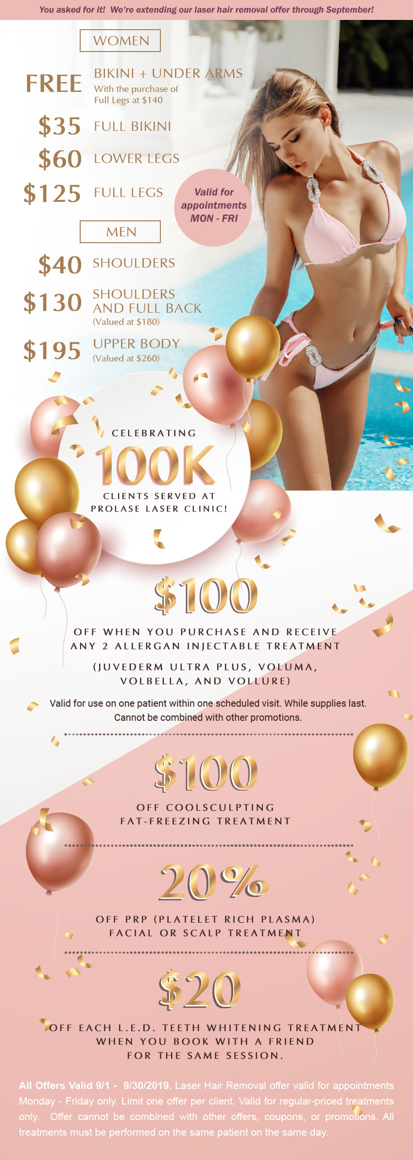 This is an image the monthly special promotion offered by Prolase for laser hair removal and other aesthetic treatments. To learn more about all special offers for the month, please call 818-507-0909
